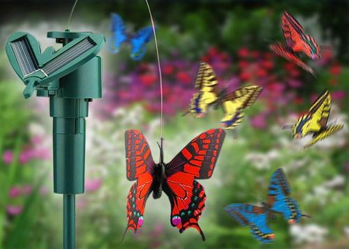 4 x Solarbetriebene Schmetterlinge Gartenstecker Solar Schmetterling 02