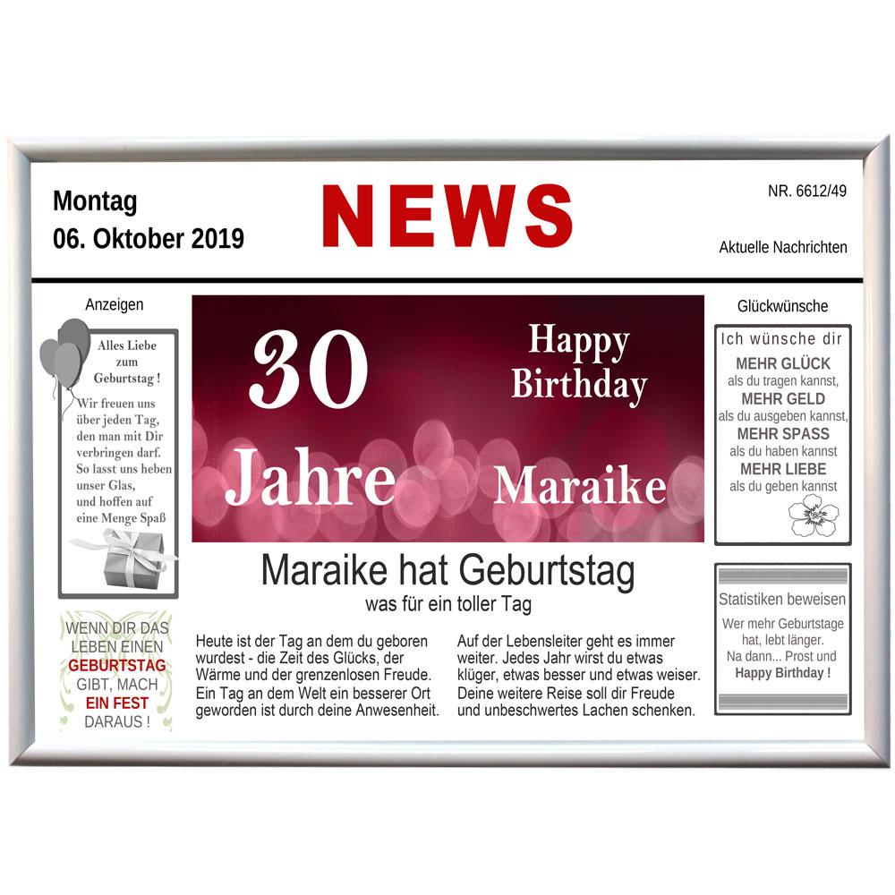Alu Tafel News Geburtstag mit Name und Datum 30 Jahre