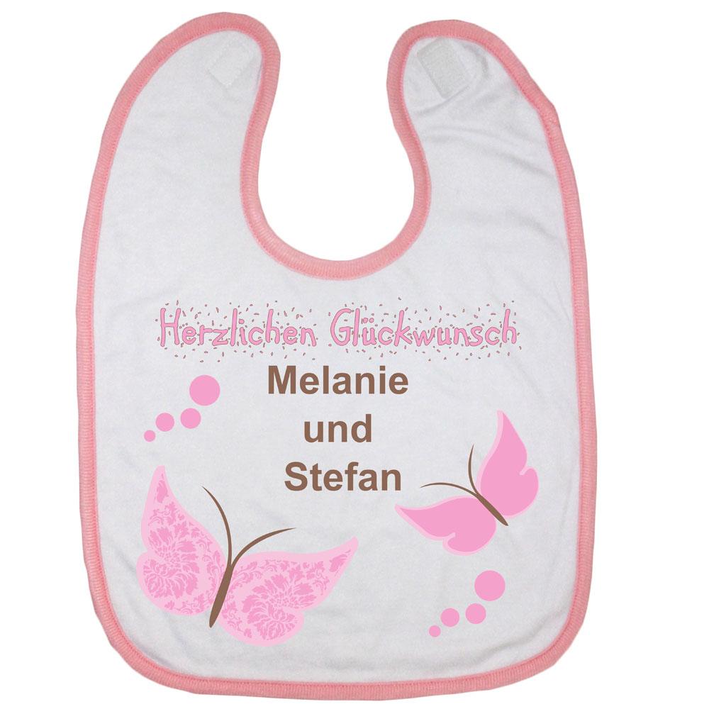 Babylatz mit Name rosa Herzlichen Glückwunsch