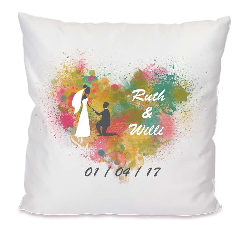 kissen hochzeit personalisiert multicolor