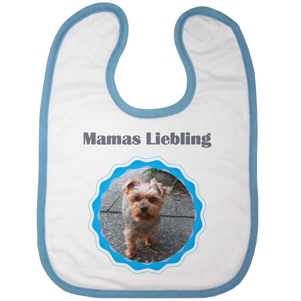Babylatz blau mit Foto Mamas Liebling 01