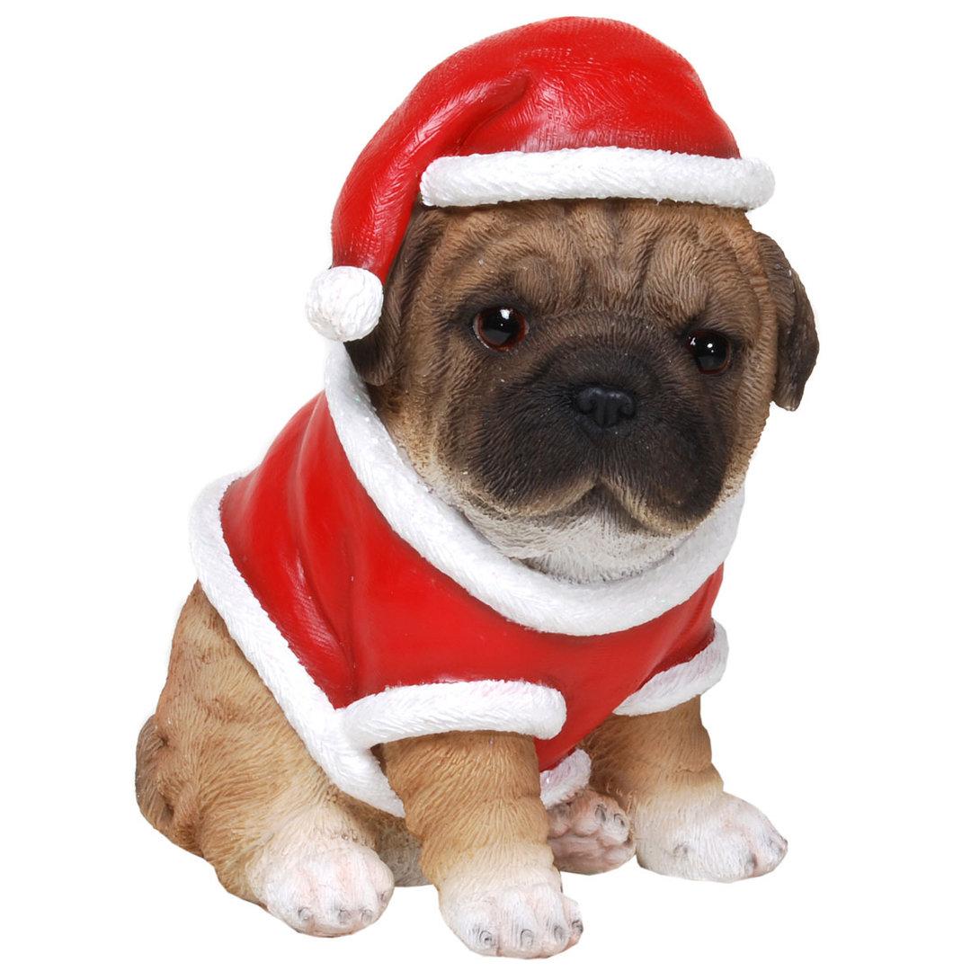 Mops mit Weihnachtsanzug Figur Weihnachts Hund