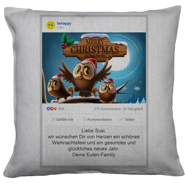 Leinen-Kissen personalisiert Weihnachten Facebook Grüße
