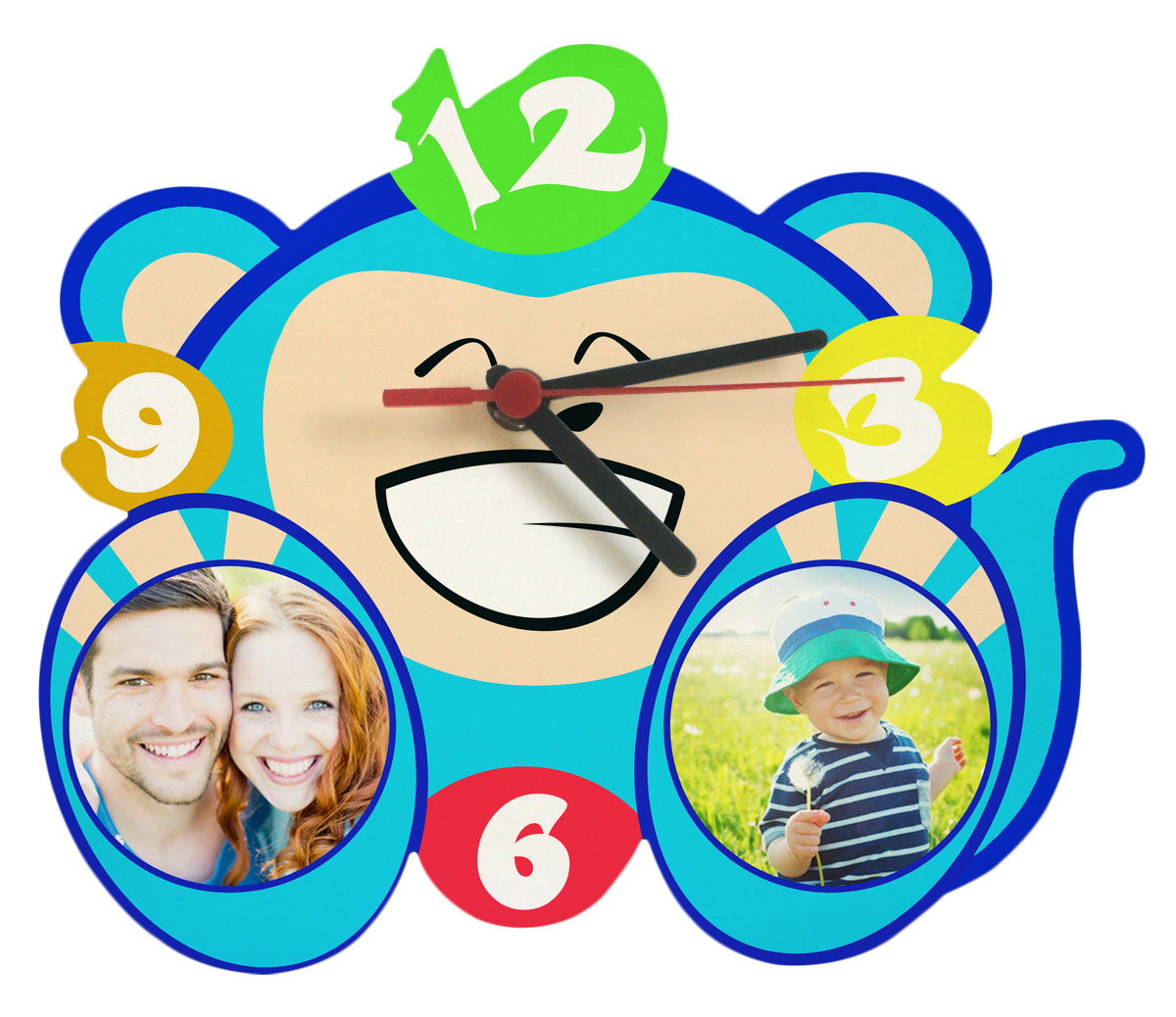 witzige Kinderuhr mit Fotos blau