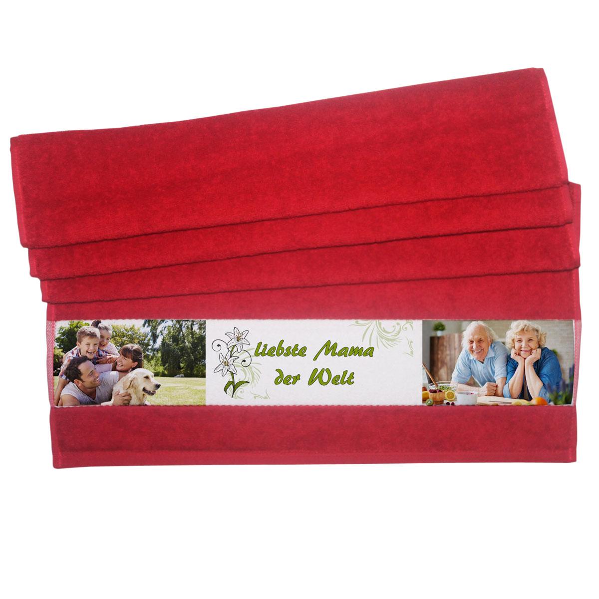 Handtuch mit Foto rot liebste Mama
