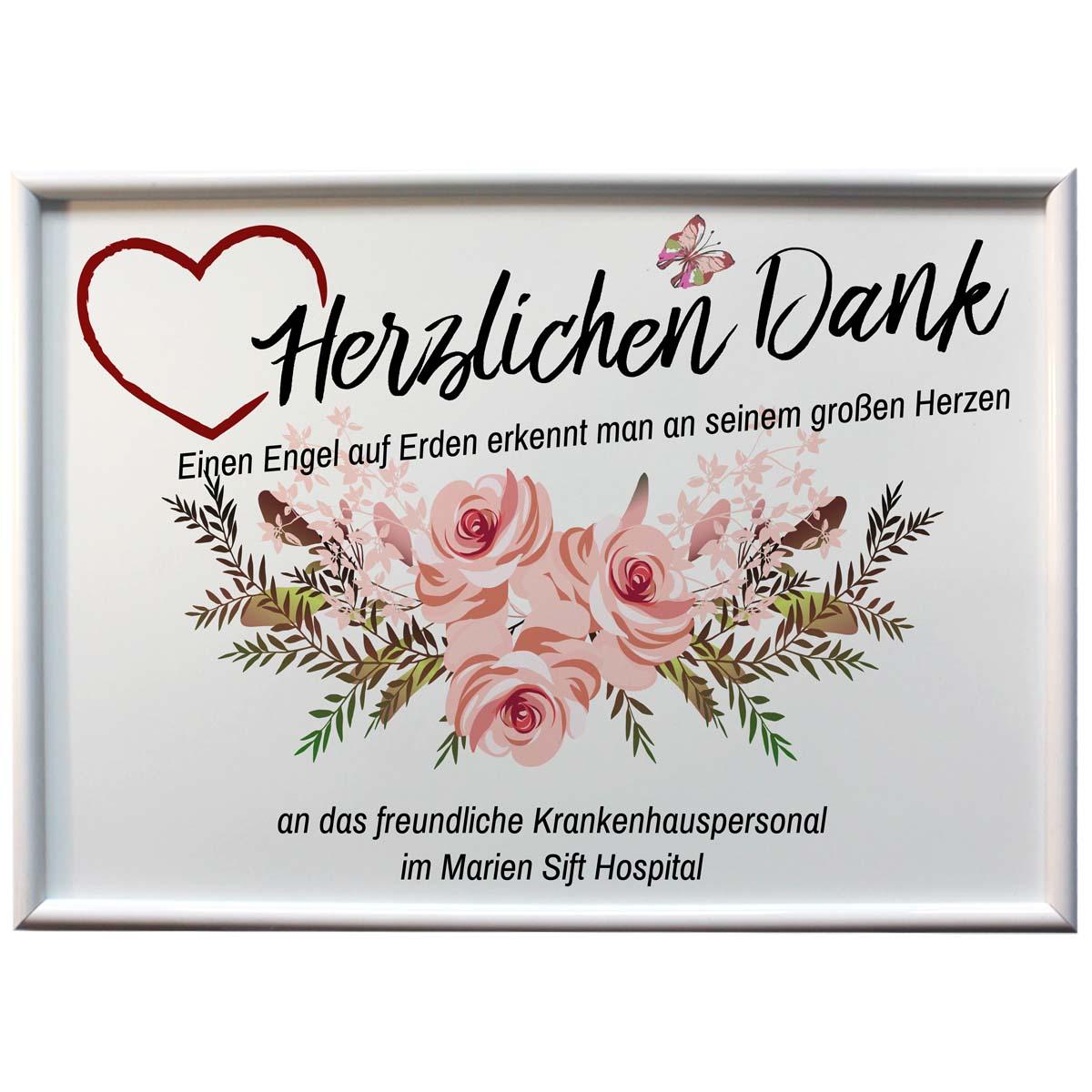 Alu Tafel personalisiert herzlichen Dank an die Engel