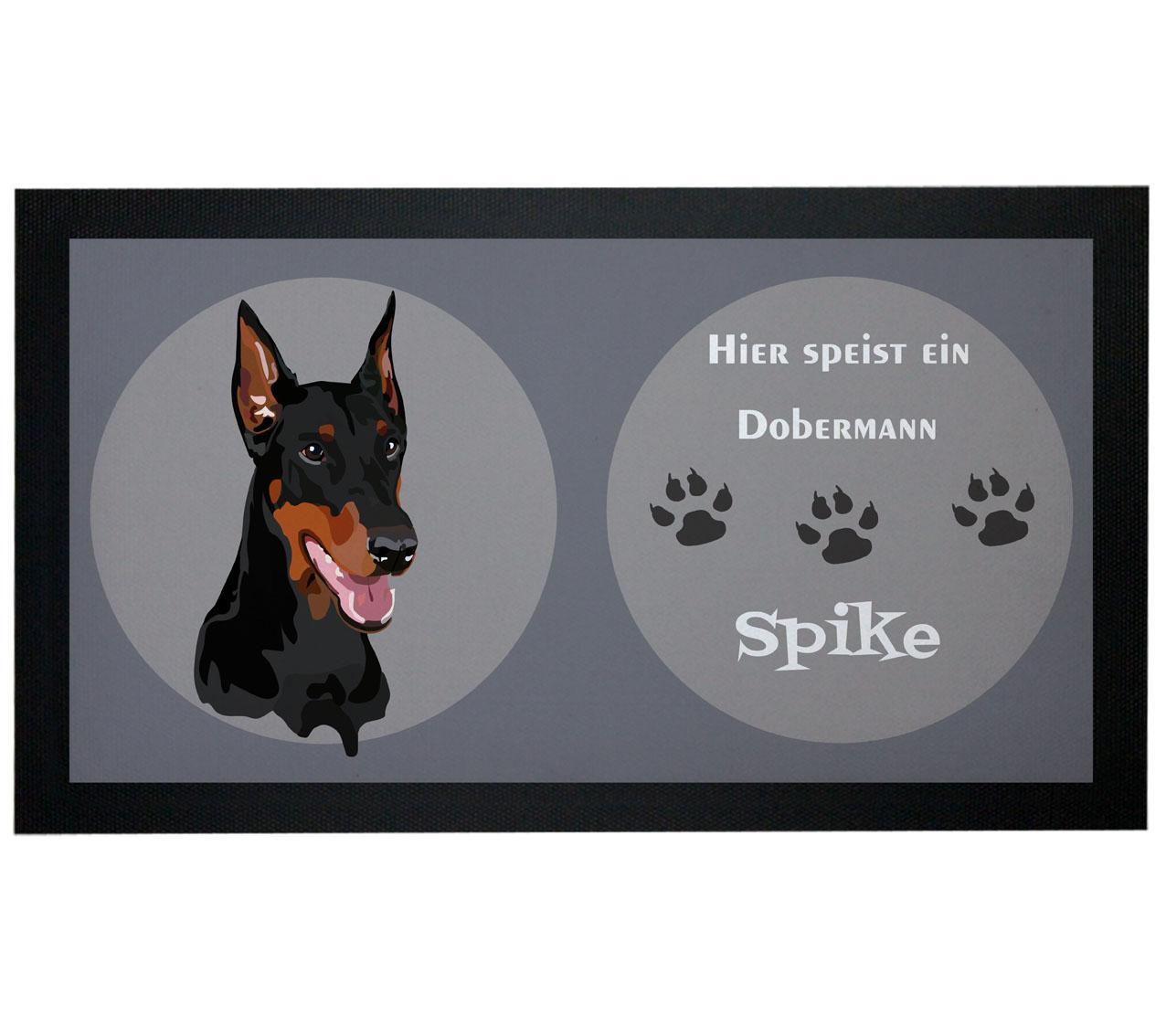 Napfunterlage Hund Dobermann mit Name