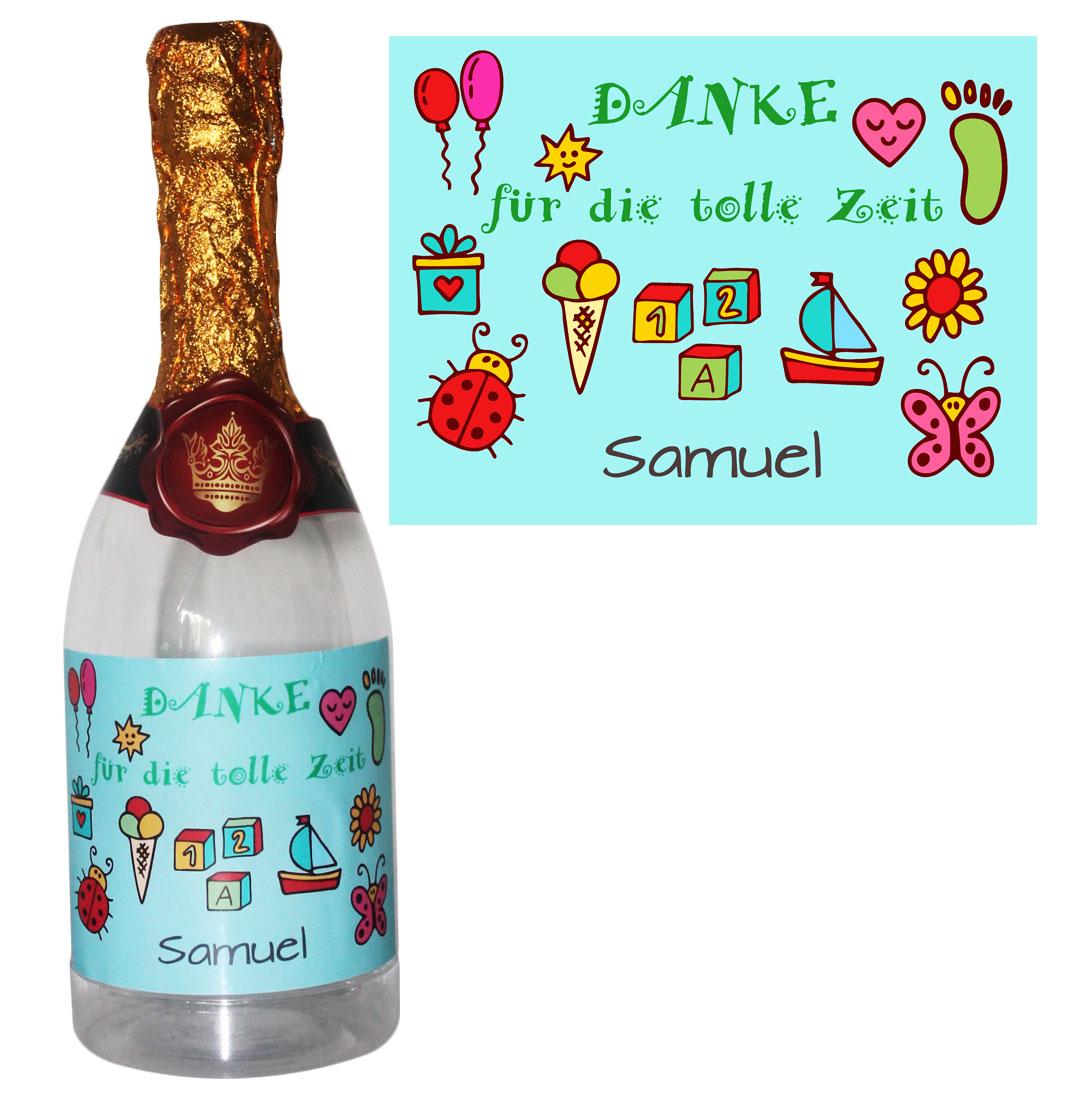 Flasche zum befüllen Kindergarten Danke Geschenk Tagesmutter