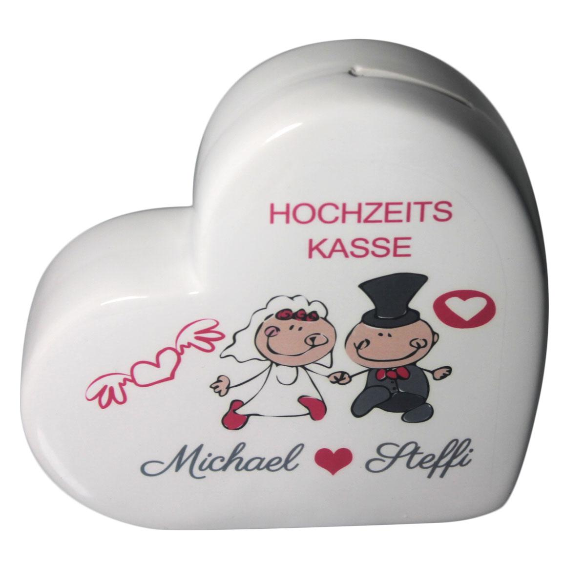 Herz Spardose mit Namen Hochzeitskasse