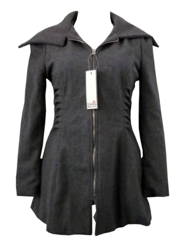 Cipo & Baxx Damen Jacke in grau Gr. S mit großem Kragen 04