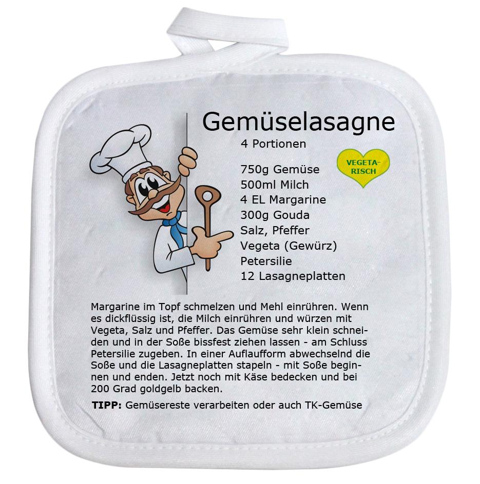 Topflappen mit Spruch Rezept Gemüse Lasagne