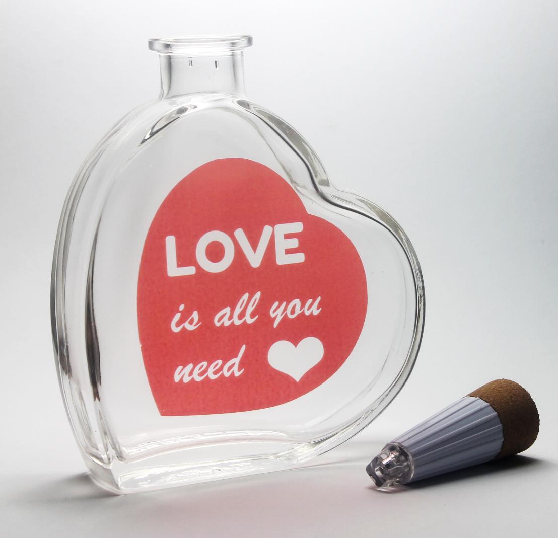 led deko flasche herz love