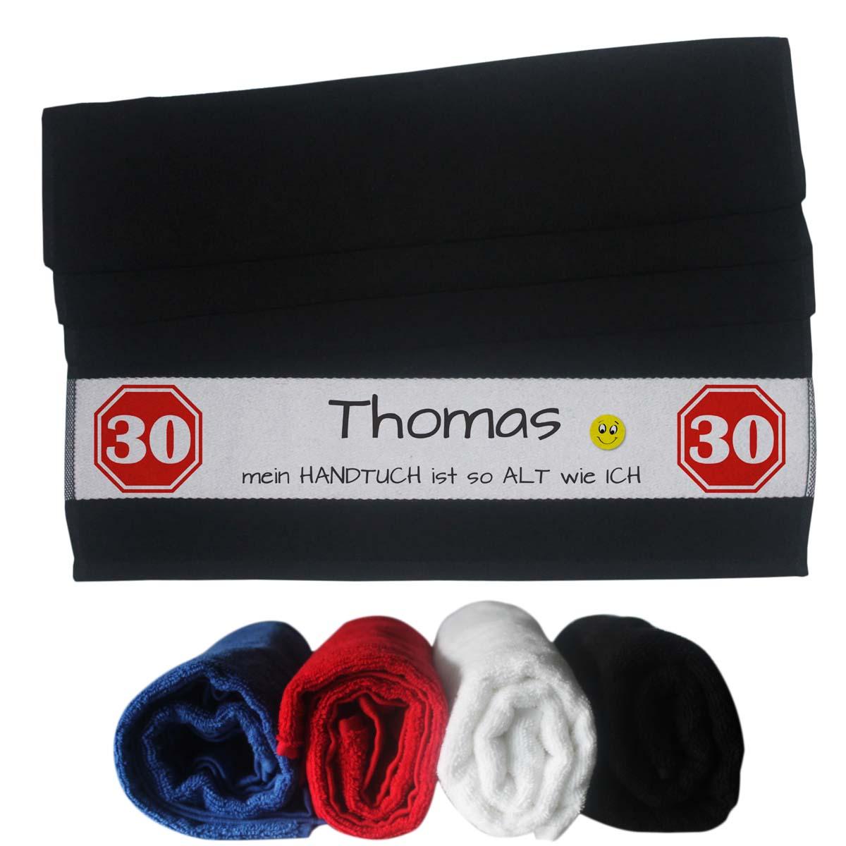 witziges Handtuch mit Name zum 30 Geburtstag