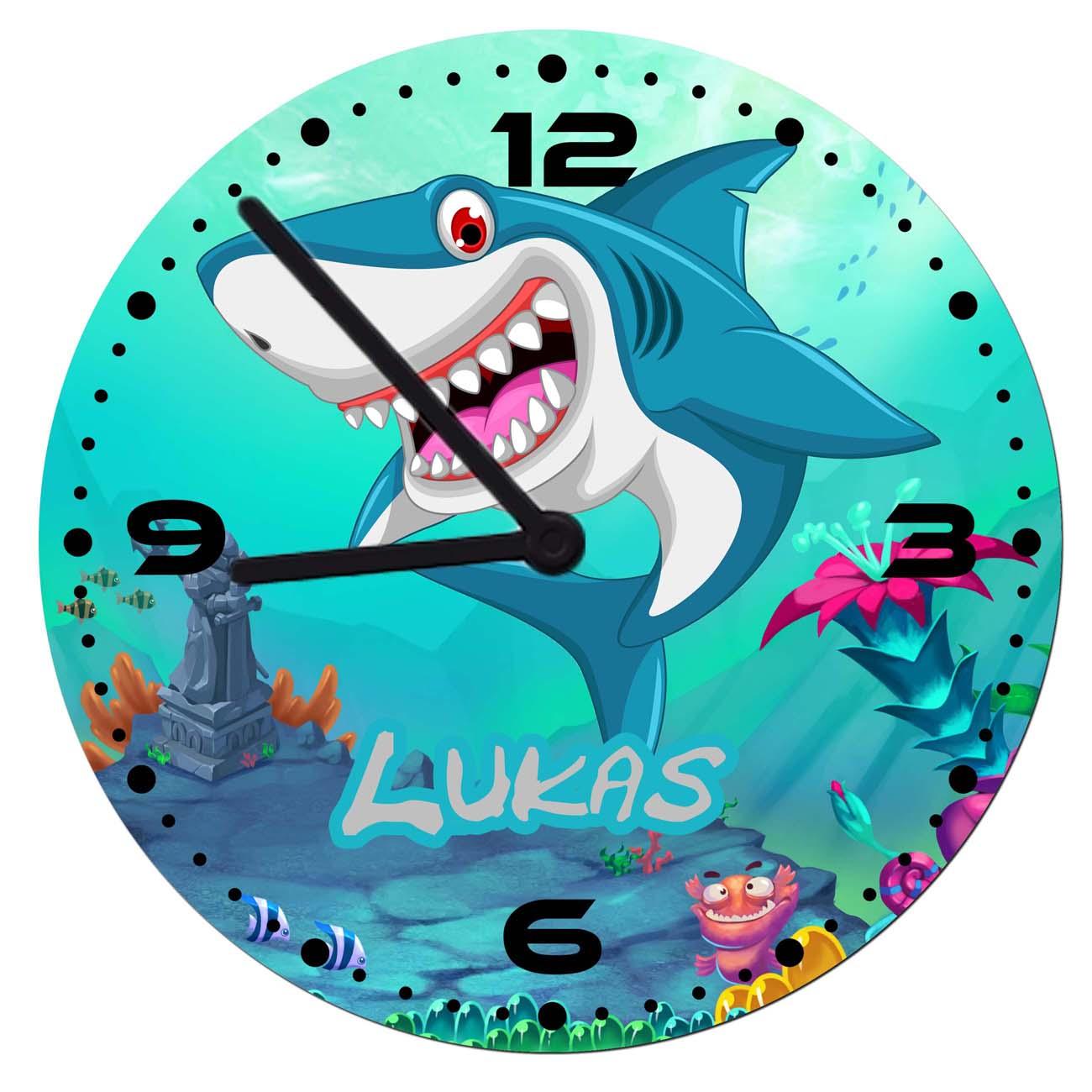 Wanduhr mit Name Hai | Unterwasserwelt