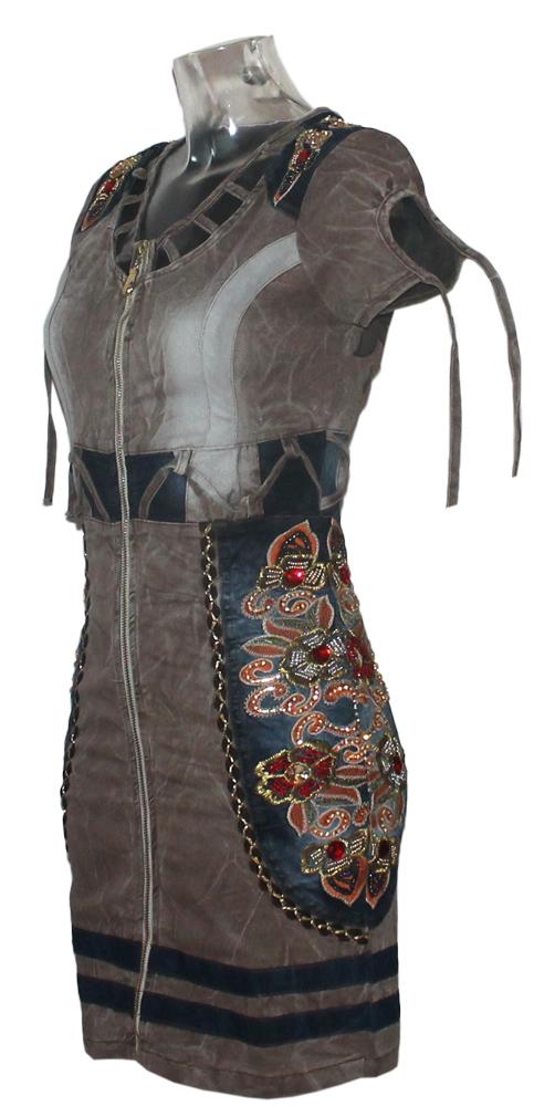 Damen Kleid Minikleid Signet 3232 braun 04