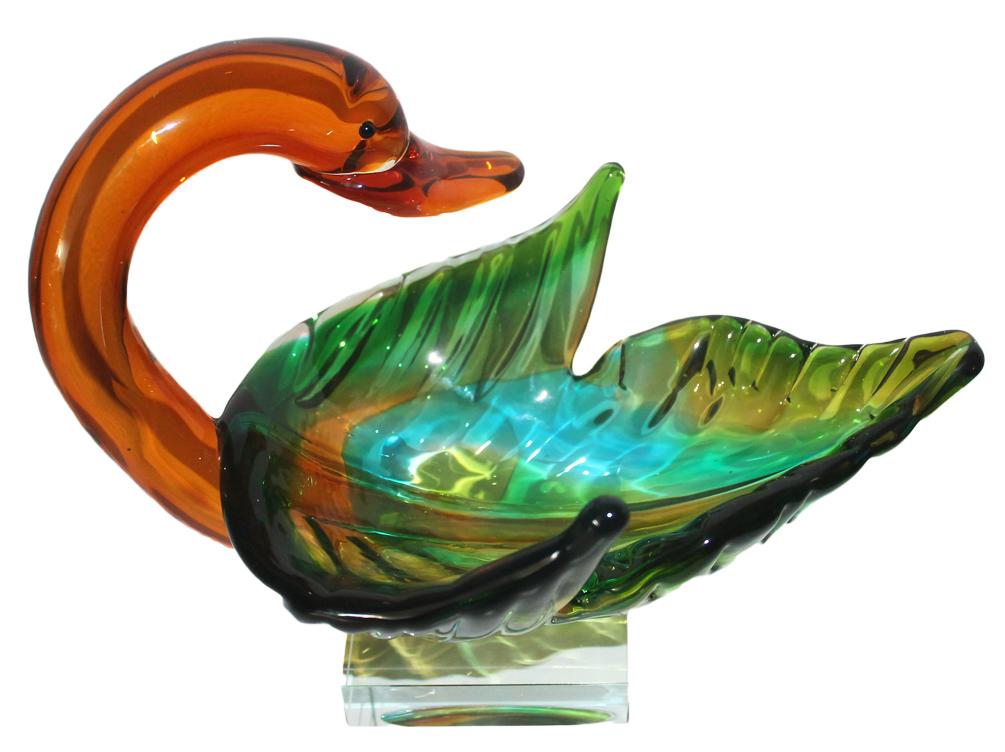 Glasfigur Motiv Schwan Schale Figur Schale aus Glas