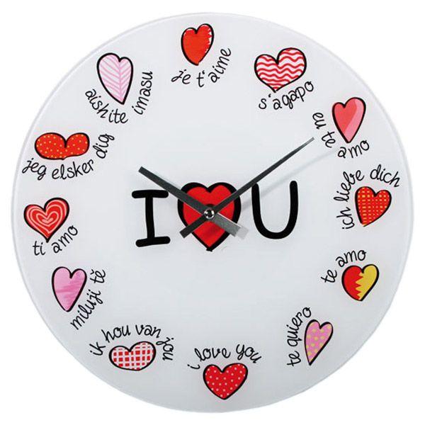 Uhr Ich liebe Dich Wanduhr in 12 Sprachen Glasuhr