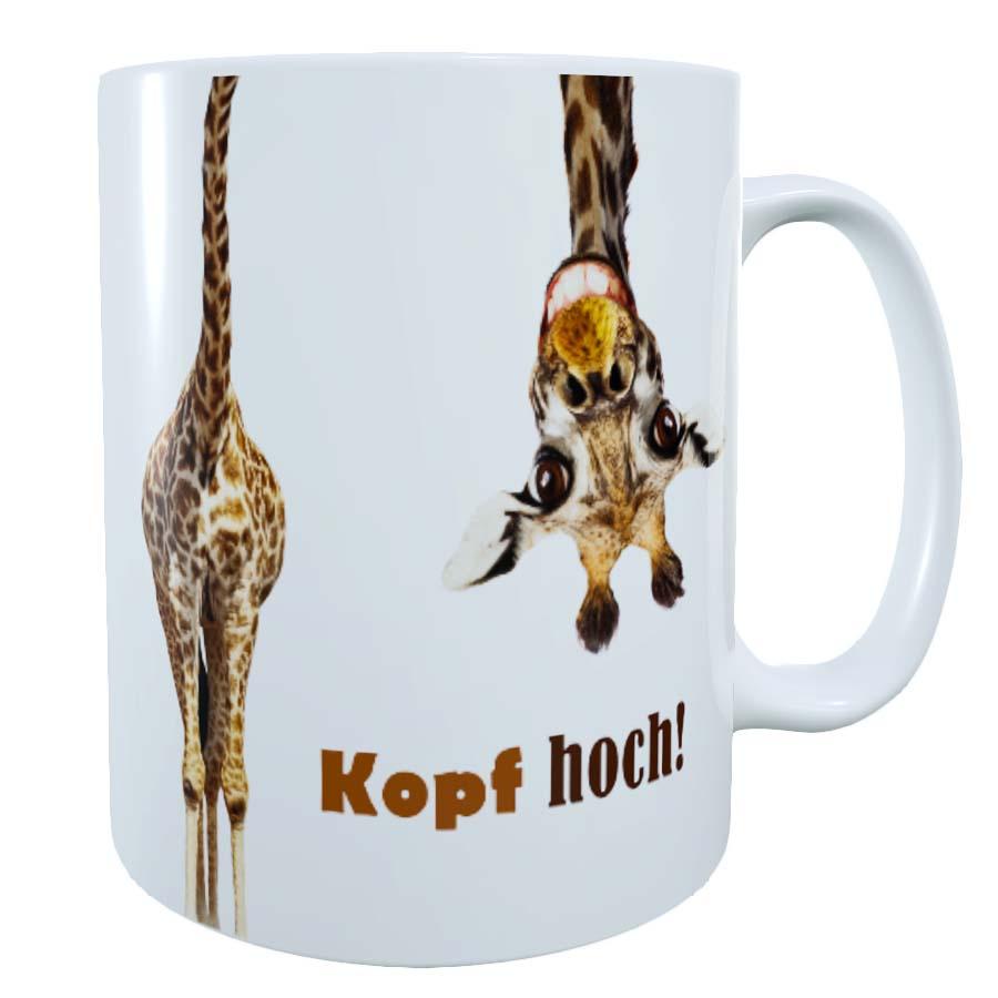 witzige Tasse mit Spruch Kopf hoch Giraffe
