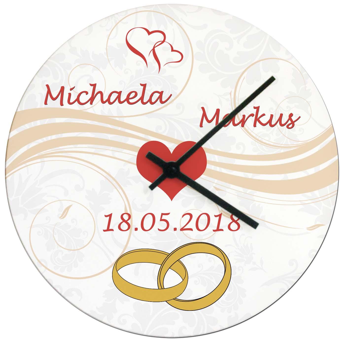 Uhr personalisiert mit Namen und Datum Geschenk Hochzeit Ringe