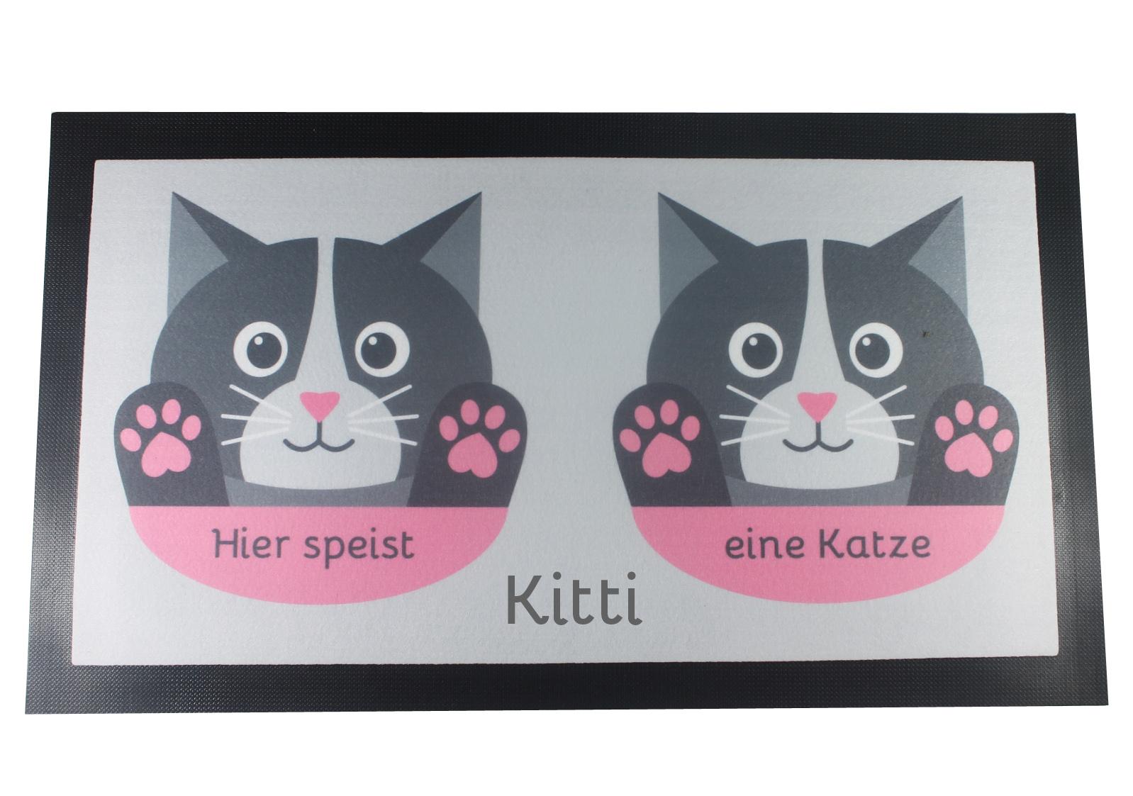 Napfunterlage Katze mit Name grau