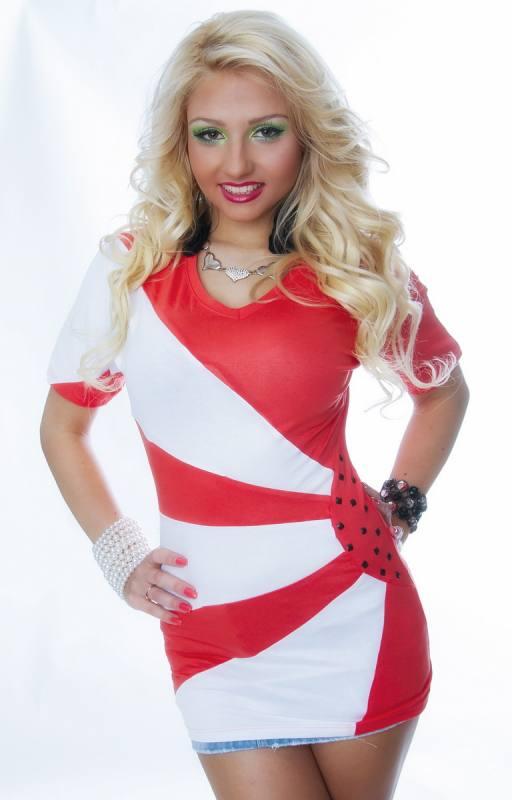 Damen Shirt rot-weiß figurbetont 02