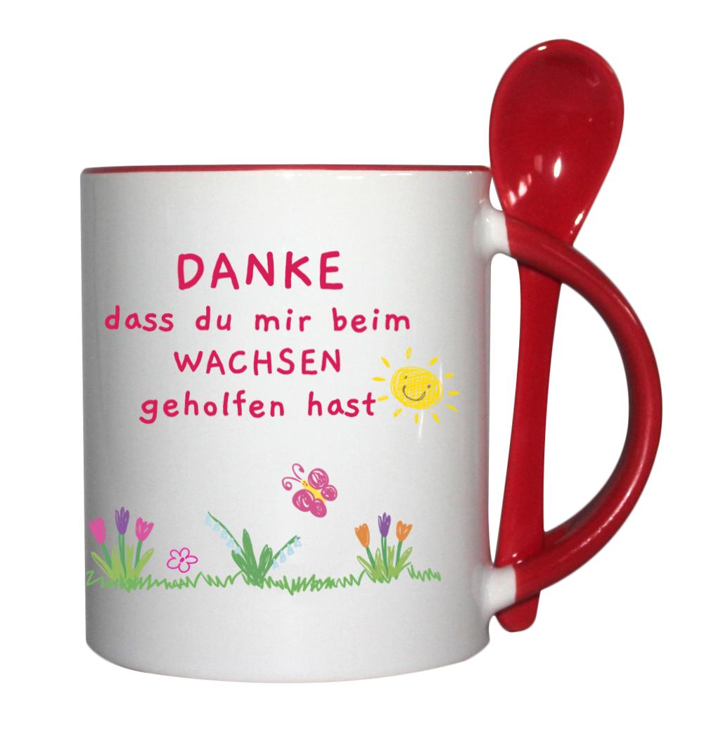 Löffeltasse für Kindergärtnerin mit Name rot