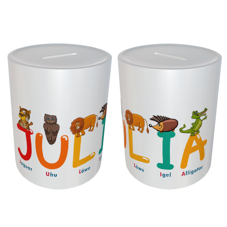 Kinder Spardose mit Name Tier Buchstaben Julia