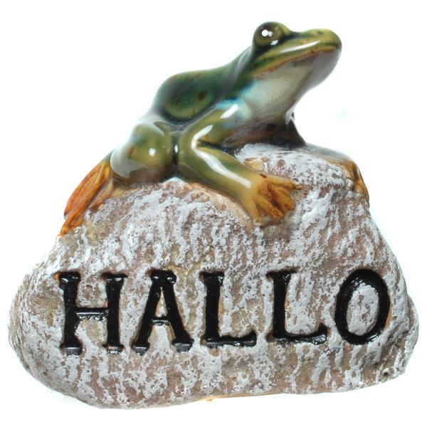 Frosch auf Stein Hallo Gartenfigur Gartendeko Figur Garten