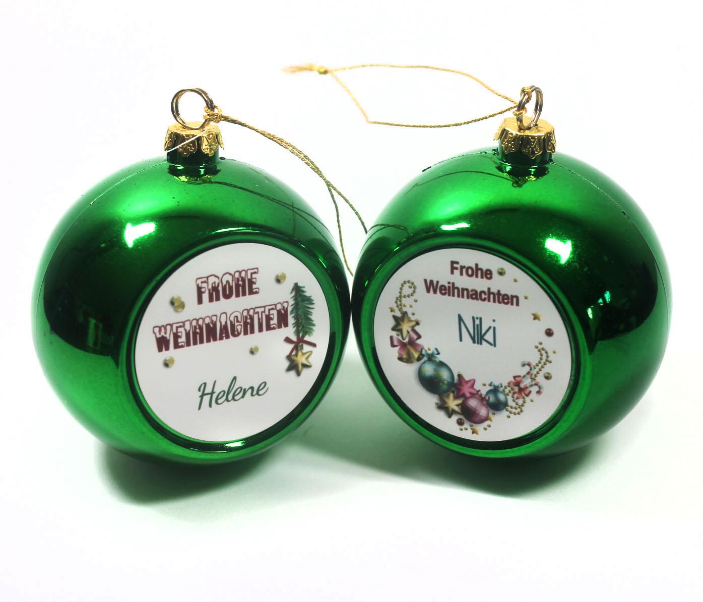 Weihnachtskugel mit Name grün