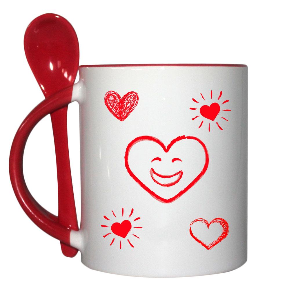 Tasse mit Löffel zum Muttertag in rot hinten