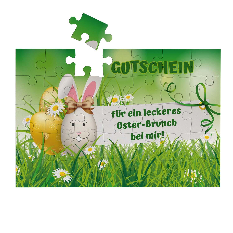 Puzzle mit eigenem Text zu Ostern Gutschein Einladung