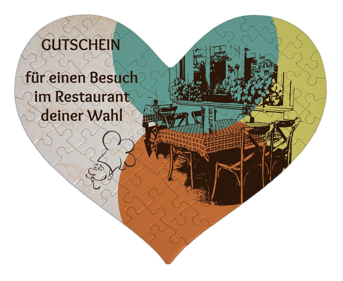 Herz Puzzle Gutschein Design Restaurant