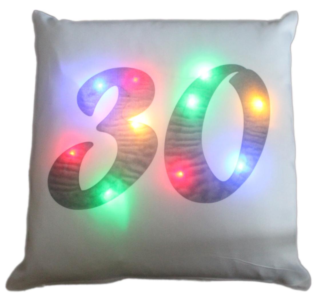 LED Kissen Zahl 30 weißes Kissen mit bunten LED