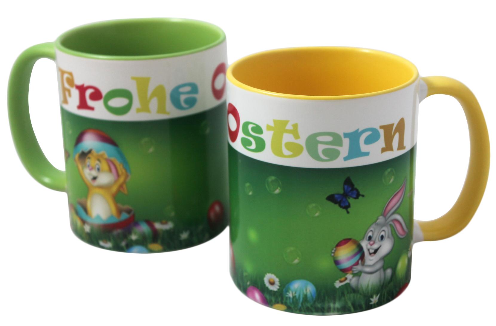 Tasse Frohe Ostern Ostertasse gelb oder grün