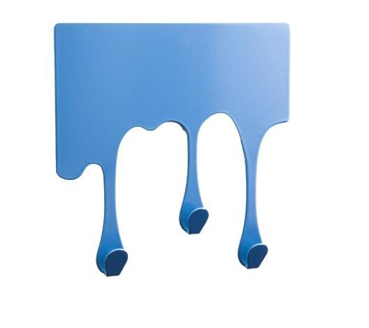 kleiner Designer Haken 12 x 12 cm Wandhaken blau für Bad und Küche