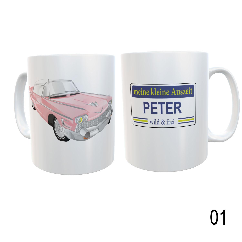 Tasse mit Name kleine Auszeit Fahrzeug Design 01
