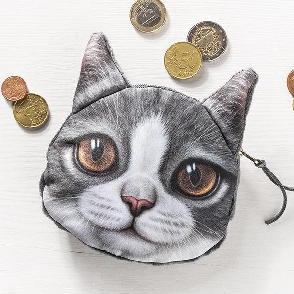 Münzen Tasche Katze mit braunen Augen 3D Effekt Geldbeutel