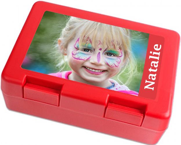 individuelle Brotbox rot mit Foto und Name Fotogeschenk