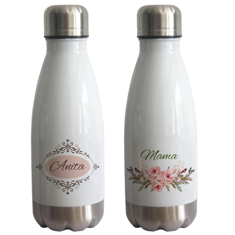 Thermoflasche weiß 350 ml mit Name personalisiert