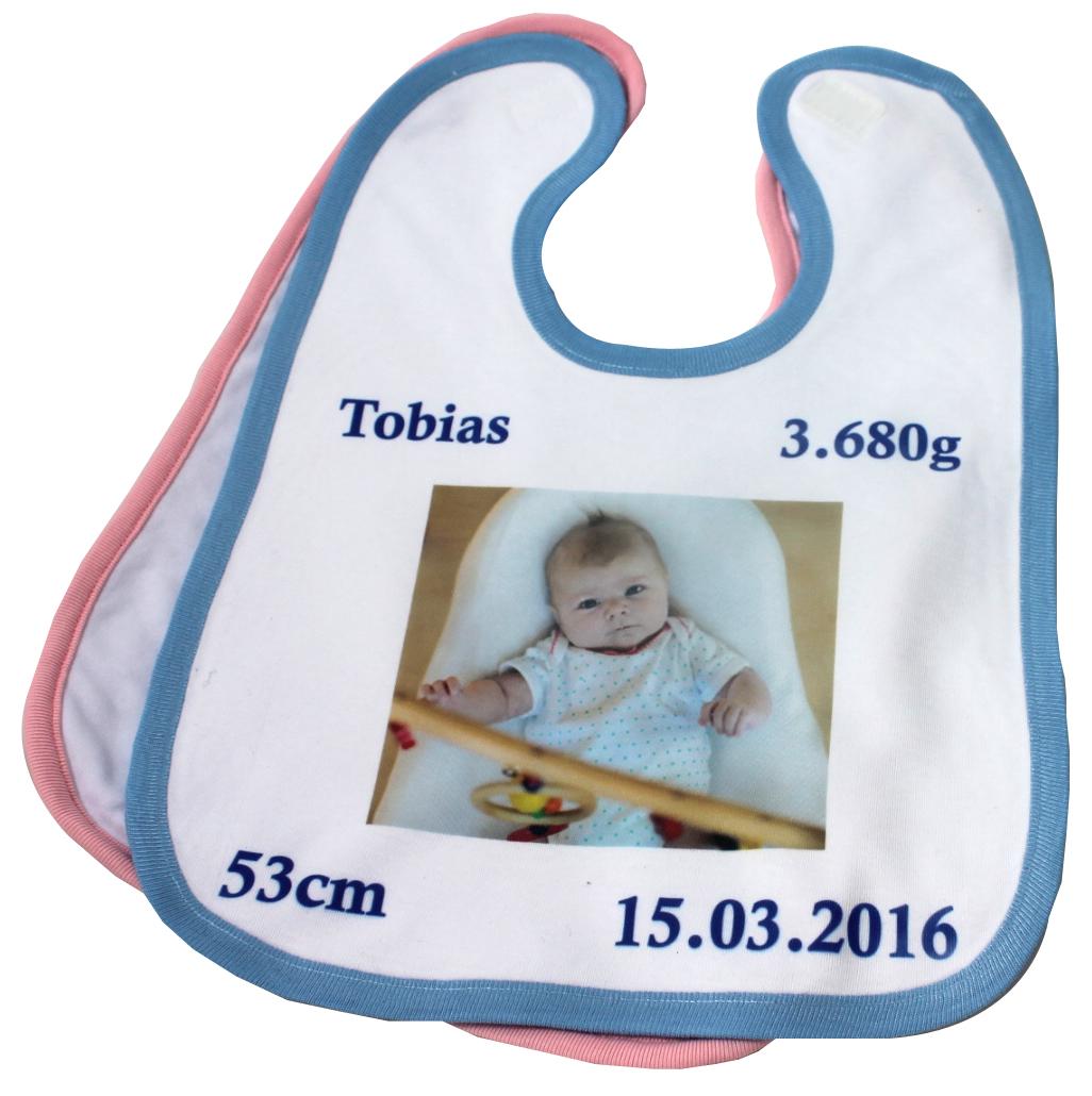 Babylätzchen mit Klettverschluss mit Foto und Daten