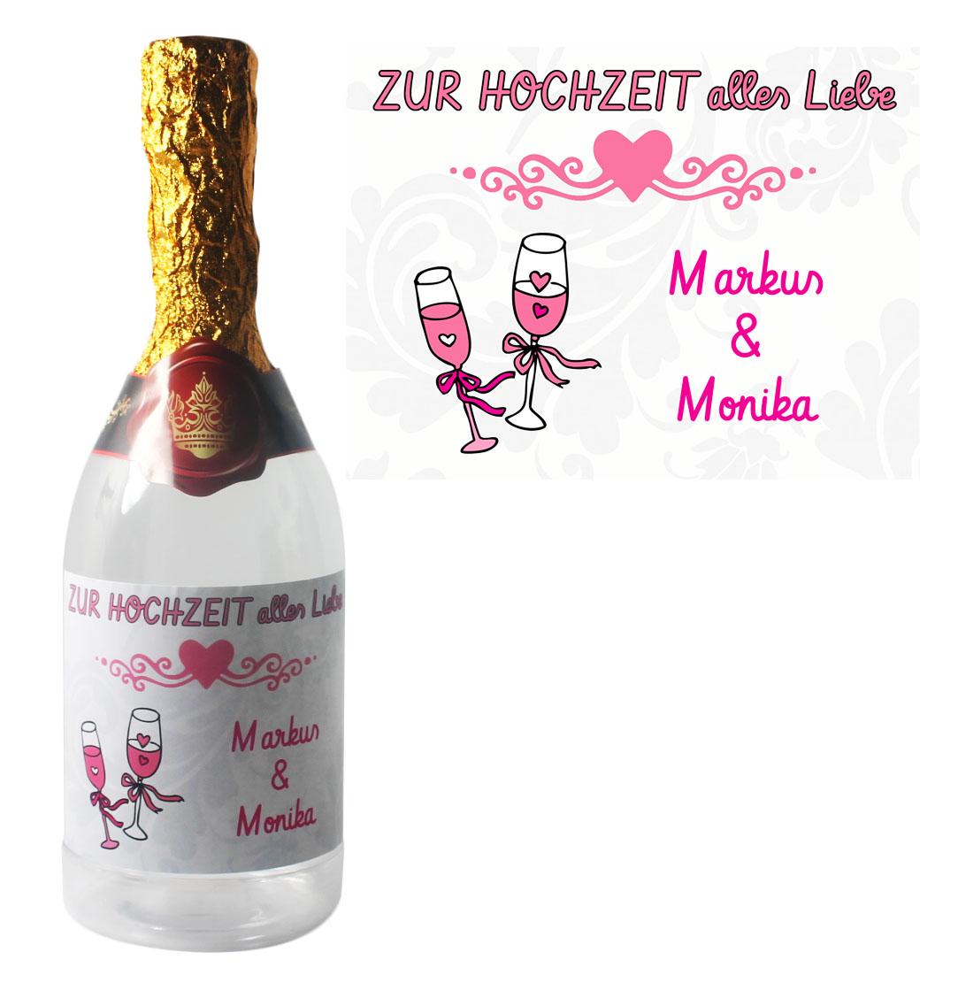 Sektflasche zum befüllen mit Namen zur Hochzeit