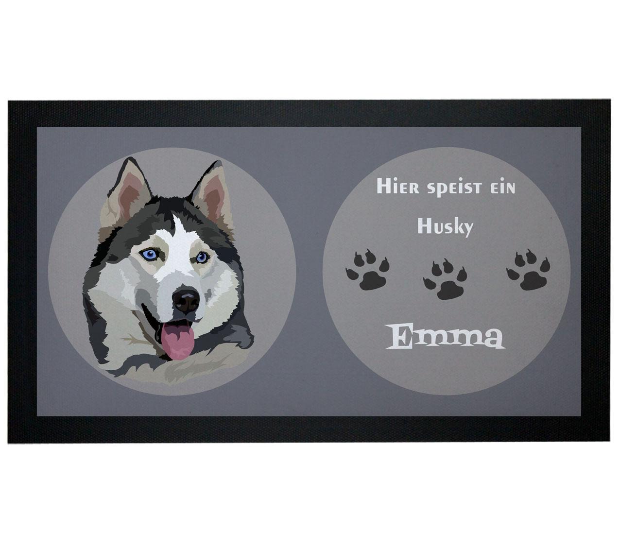 Napfunterlage Hund Husky mit Name