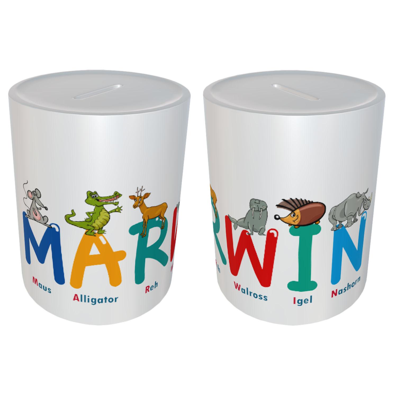 Kinder Spardose mit Name Tier Buchstaben Marwin