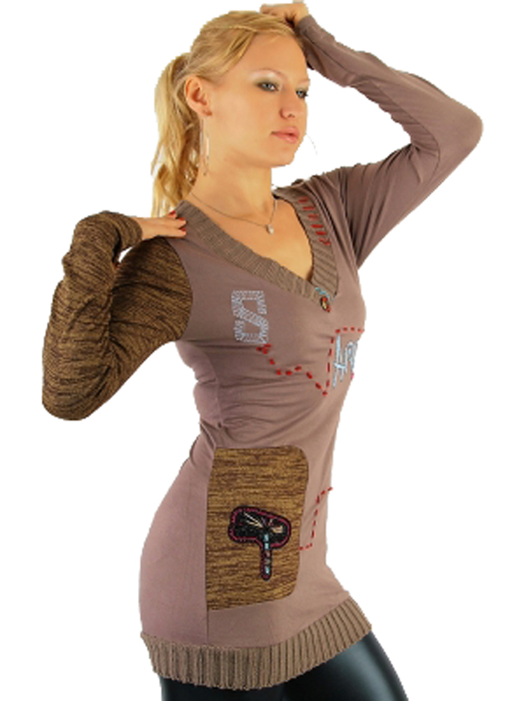 Long Pullover mit Print Braun Rot Gr. S/M