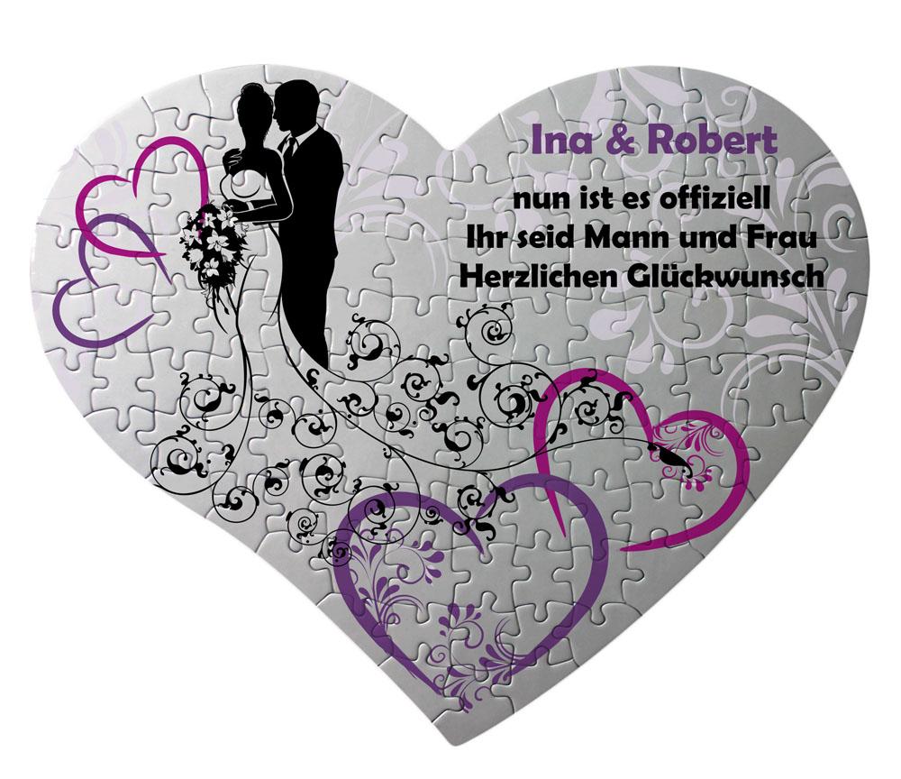 """Herz Puzzle """"Hochzeitspaar"""" mit eigenem Text"""