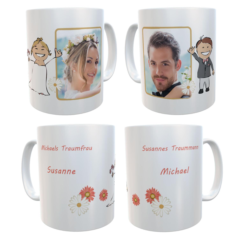 Partnertassen zur Hochzeit Traumpaar 01