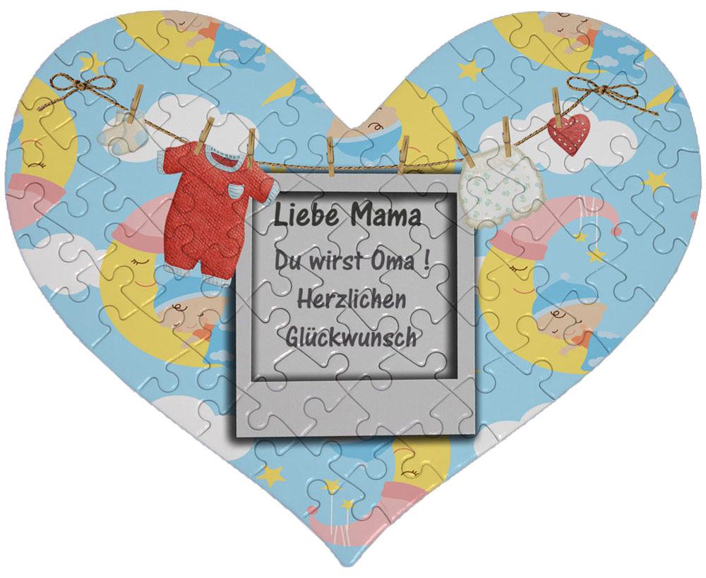Herz Puzzle Baby Wäscheleine als Gutschein Einladung
