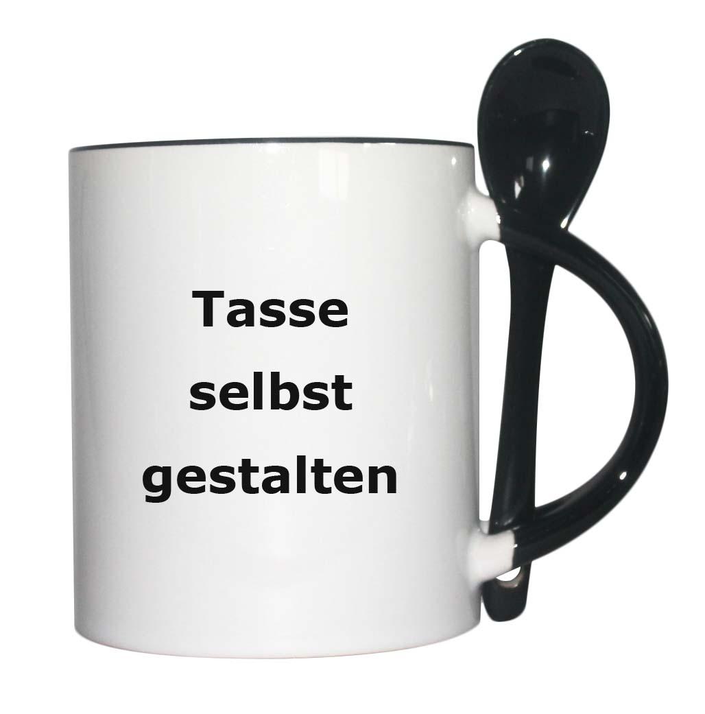 Tasse mit Löffel schwarz mit Foto