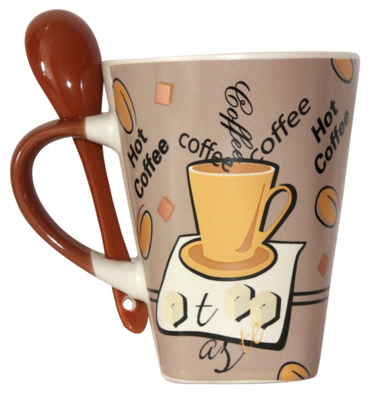 Becher mit Löffel Kaffeebecher Keramik im Kaffeedekor hellbraun