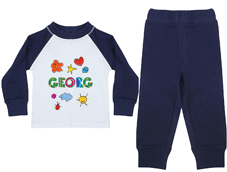 Baby Pyjama Junge mit Name blau 01